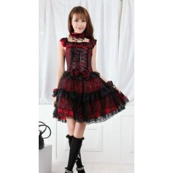 ロリータファッション ロリータワンピース ロリータドレス lolita ロリィタ レッド&ブラック レディース ドレス ノースリーブ
