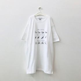【petite montagneサイズL】紐の結び方Tシャツ〈White〉