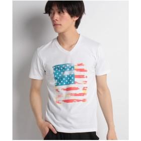 VENCE EXCHANGE MENS ブラスト星条旗Tシャツ(ホワイト)【返品不可商品】