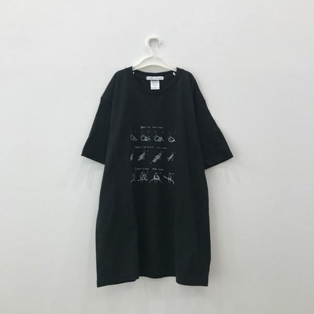 【petite montagneサイズL】紐の結び方Tシャツ〈Black〉