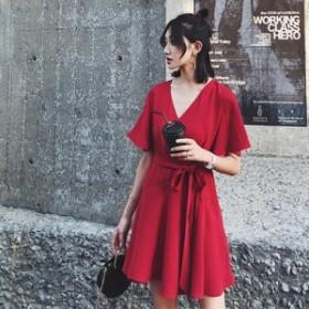 シンプルで大人っぽい可愛い赤ワンピース 送料無料 お呼ばれ 大人かわいい ワンピース 結婚式 ドレス フォーマルドレス パーティードレス