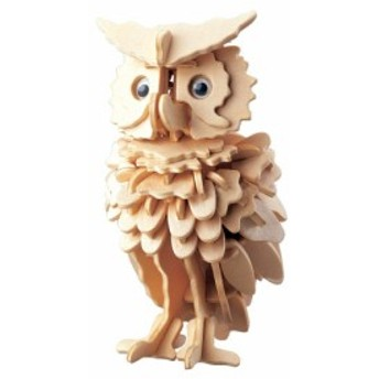 3D 木製 立体パズル DIY ( フクロウ ) 創造力を鍛える 工作キット 知育玩具 夏休み 自由工作 にも最適