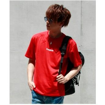 VENCE EXCHANGE MENS スターサガラ刺繍プリントTシャツ(レッド)【返品不可商品】