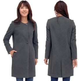 テーラードジャケット - Hayashiguchi カシミヤ & ウール ノーカラーコート (CA2944)レディース 婦人用 女性用 襟無し コート テーラード