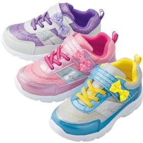 【格安-子供用靴】ガールズ軽量水玉リボン付スニーカー