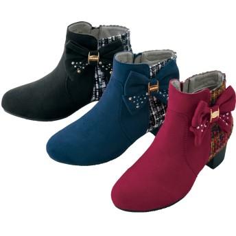 【格安-子供用靴】ジュニアサイドリボン付ツイード調チェック柄ブーツ