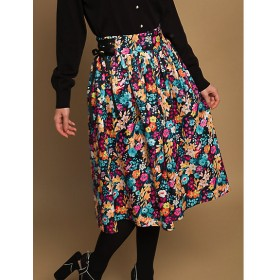 <Lily Lulu/リリー ルル> 大きいサイズ 【オンラインストア限定ブランド】 スカート(188-130468)(クローバー) ブラック 【三越・伊勢丹/公式】