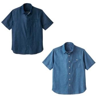 メンズライトデニム半袖シャツ