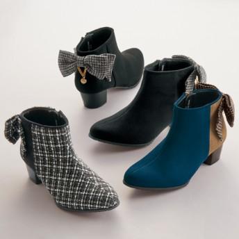 【格安-子供用靴】ジュニアリボン&キラキラチャーム付ショート丈ブーツ