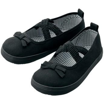 【格安-子供用靴】キッズ幅広伸縮ゴム付バレエタイプカジュアルスニーカー