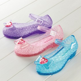 【格安-子供用靴】ハートモチーフ付キラキララメ入りカジュアルサンダル