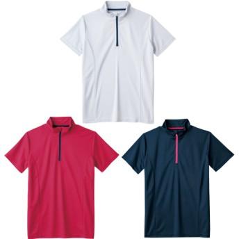 レディース半袖ドライハーフジップTシャツ