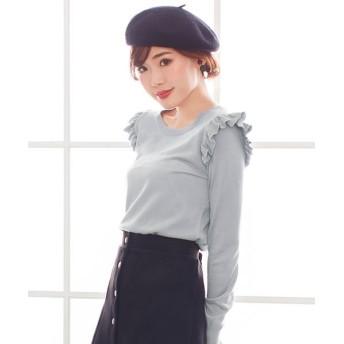 夢展望 ショルダーフリルニット レディース グレー L 【YUMETENBOU】