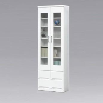 本棚 完成品 ガラス扉 幅60cm 鏡面 書棚 リビング収納 国産 木製