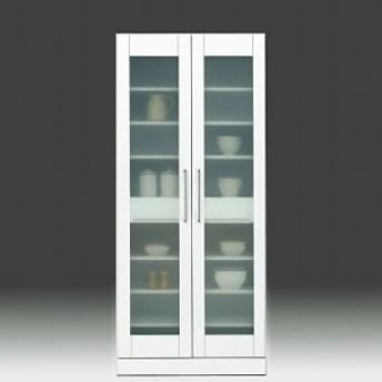 食器棚 完成品 幅80cm 収納 鏡面 ホワイト 白 カップボード ガラス扉 モダン