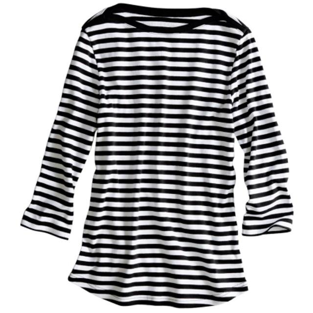 UVカット綿100%フライス素材ボートネック7分袖Tシャツ (Tシャツ・カットソー)(レディース)T-shirts