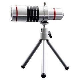 18倍望遠レンズキット 18X光学ズーム 望遠鏡 カメラレンズ 遠距離撮影用レンズ iPhone6/6sに対応 ミニ三脚スタンド付き シルバー【ju
