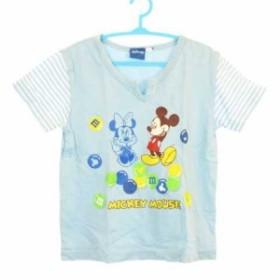 de7e03eb99e86 ディズニー キッズ Tシャツ プリント ミッキーマウス スリットネック 切替 ボーダー 綿100% 半袖 ライト