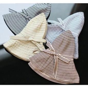 つば広 帽子 つば広帽子 折りたたみ ハット レディース 大きいサイズ リボン付 綿麻 日よけ 女優帽 UVカッ