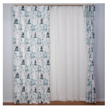 【送料無料!】北欧調。森とキツネカーテン ドレープカーテン(遮光あり・なし)