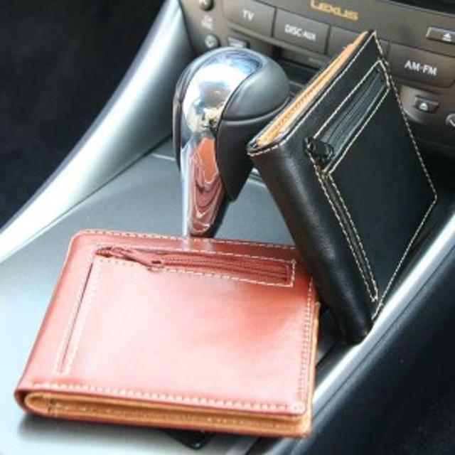 41099fe488c3 クールボディにステッチでアクセント☆メンズ牛革二つ折り財布(コイン ...
