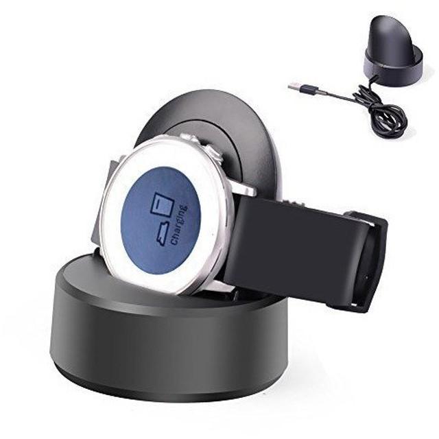 371297010a Pebble Time Round 充電器スタンド MaxKu 充電ホルダー チャージャー 急速充電 携帯便利 (ブラック