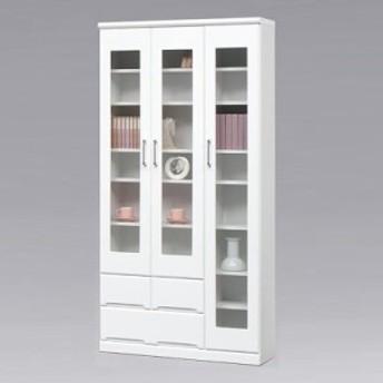 本棚 完成品 扉 幅90cm 書棚 鏡面 リビング収納 白 国産 ホワイト