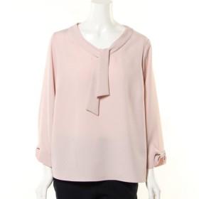 シャツ ブラウス レディース Wクロス素材ボウタイブラウス 「ピンク」