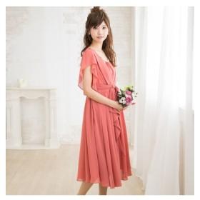 タック&リボンが上品可愛いミモレ丈ワンピースドレス【結婚式。二次会。お呼ばれ対応】 【謝恩会・パーティドレス】