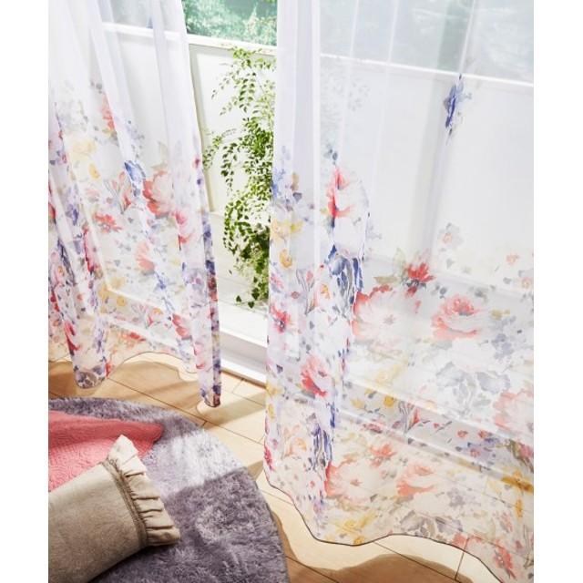 【送料無料!】色鮮やかなフラワー柄レースカーテン レースカーテン・ボイルカーテン
