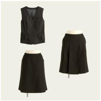【事務服。ベストスーツ】3点セット(ベスト+プリーツスカート+フレアスカート)(丈56cm) women's suits