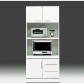 レンジ台 収納 幅80cm スリム 完成品 キッチンボード 食器棚 鏡面 白 日本製