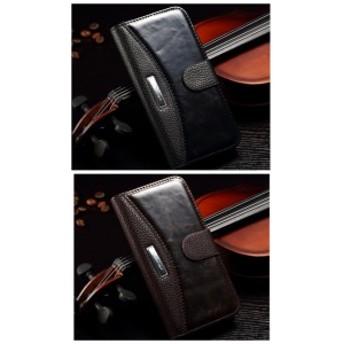 iphone7 iphone8 手帳型ケース レザー プレート スタンド機能 カード収納 マグネット スマホケース ブラック ブラウン