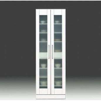 食器棚 完成品 幅60cm 収納 鏡面 ホワイト 白 カップボード ガラス扉 モダン