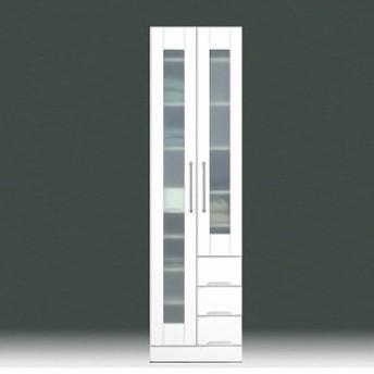 食器棚 幅50cm 完成品 収納 鏡面 ホワイト 白 ダイニングボード ガラス扉 モダン