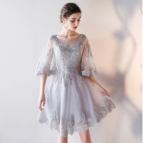 刺繍 シースルー シフォン フレア ミニドレス 袖コンシャス レース 花柄 ワンピース スカラップ レースアップ 大きいサイズ