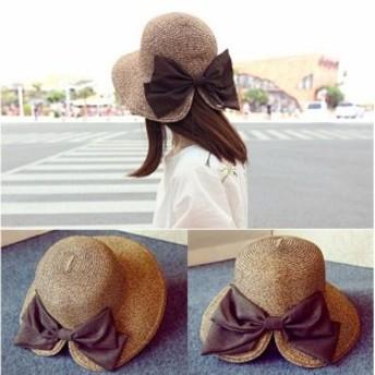 UVカット 帽子 レディース 麦わら帽子 折りたたみ ハット リボン ストローハット 春 夏 紫外線対策 小顔効