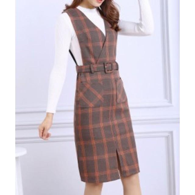 Vネックフロントパッチポケットレトロチェック柄ジャンパースカート