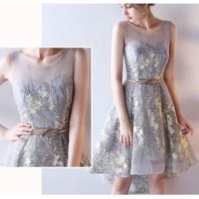 フィッシュテール パーティー シースルーボタニカル刺繍ドレス 結婚式 フィッシュテール 花柄 大きいサイズあり