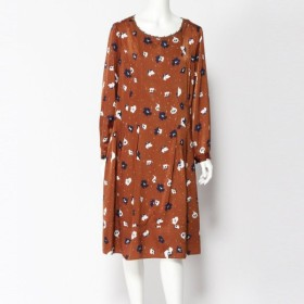 ワンピース チュニック レディース 花柄ドレス 「ブラウン」