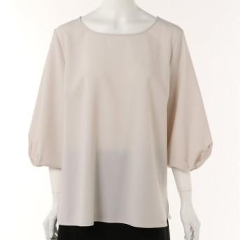 シャツ ブラウス レディース ポプリン素材ねじり袖クルーネックブラウス 「ライトグレー」