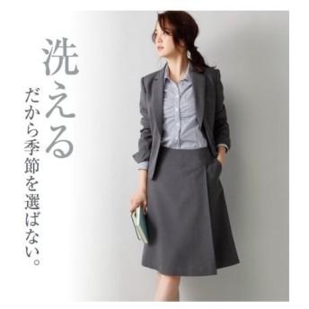スーツ オフィス レディース 洗えるラップ風セミフレア スカート ポケット付 年中 7〜19号 ニッセン