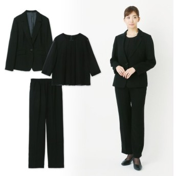 フォーマル レディース 喪服 礼服 ブラックフォーマル スーツ ブラックフォーマルパンツスーツ3点セット 9〜17AR 「ブラック」