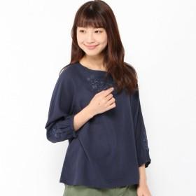 シャツ ブラウス レディース シャリ感のある梨地織り7分袖刺繍スモックブラウス 「ネイビー」