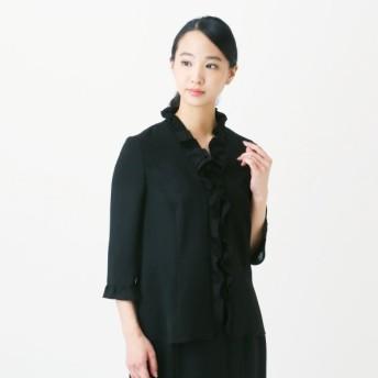 フォーマル レディース 喪服 礼服 ブラックフォーマル スーツ 洗える フォーマルフリルカラーブラウス 喪服・礼服 7〜15ABR 「ブラック」