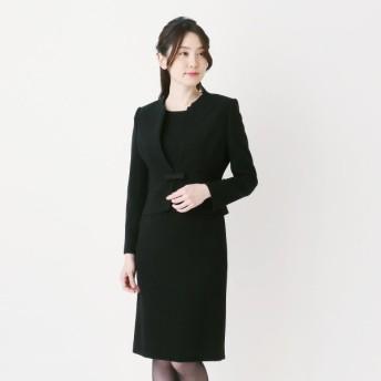 フォーマル レディース 喪服 礼服 ブラックフォーマル スーツ ブラックフォーマルノーカラーアンサンブル2点セット 喪服・礼服 「ブラック」