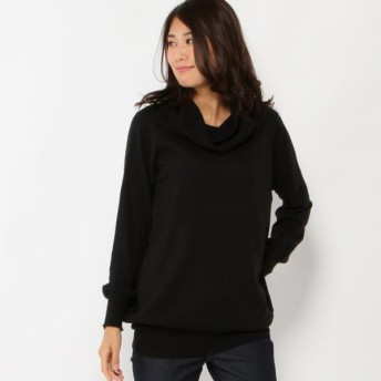 ニット セーター レディース 綿素材のゆったりオフタートルニット 「ブラック」
