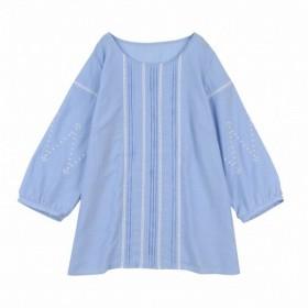 シャツ ブラウス レディース ピンタックレース刺繍ブラウス 「ブルー」