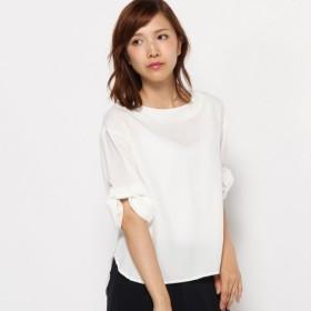 シャツ ブラウス レディース 清涼感のある袖リボンシルキーサテンブラウス 「オフホワイト」