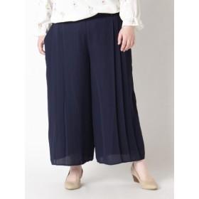 【大きいサイズレディース】【LL-3L】【人気】サイドプリーツワイドパンツ パンツ ワイドパンツ